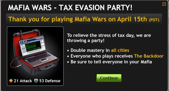 mafia -wars-tax-evasion-party