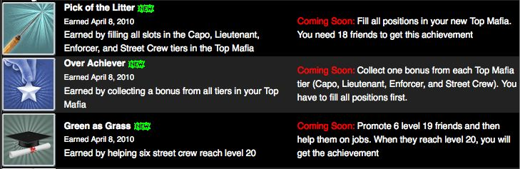mafia wars top mafia achievements