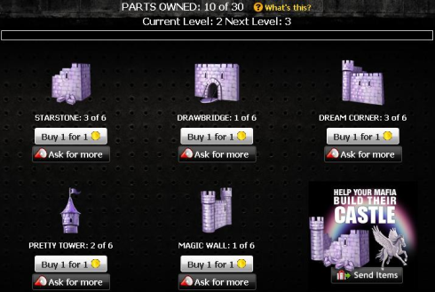 Unicorn Castle Parts in Mafia Wars