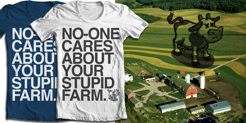 farmville tee shirts with anti-farming sentiments