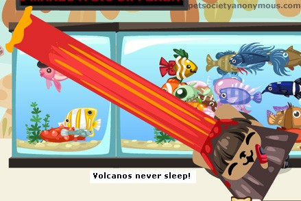 Volcano Mask eruption in Pet Society