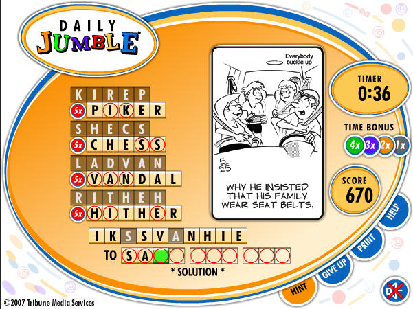 Daily Jumble - Game of the day