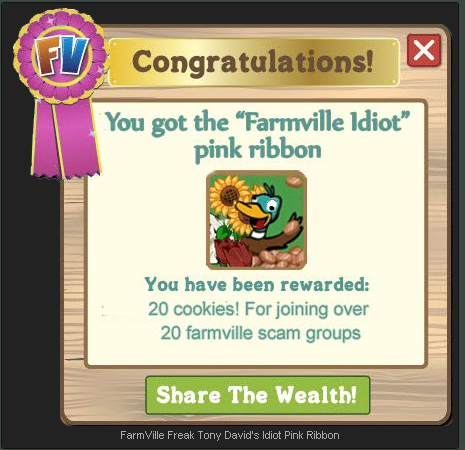 FarmVille Freak Tony David's Idiot Pink Ribbon