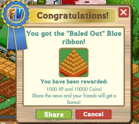 farmville baled out blue ribbon