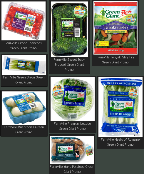 FarmVille Green Giant Fresh Promo Vegetable Produce