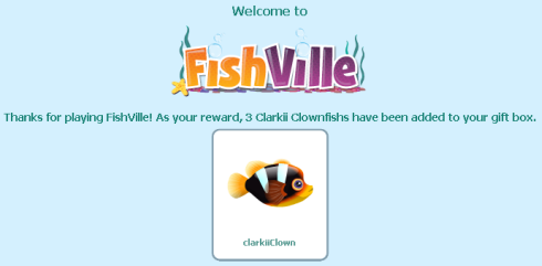 FishVille offers 3 free Clarkii Clownfish