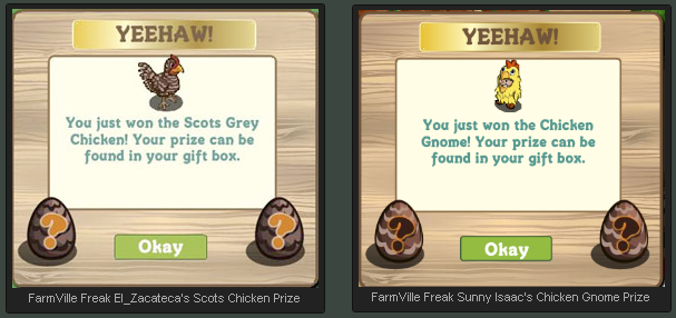FarmVille Cornish Hen Mystery Prize - Scots Grey Chicken and Chicken Gnome