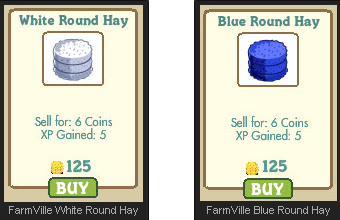 FarmVille White Round Hay and Blue Round Hay