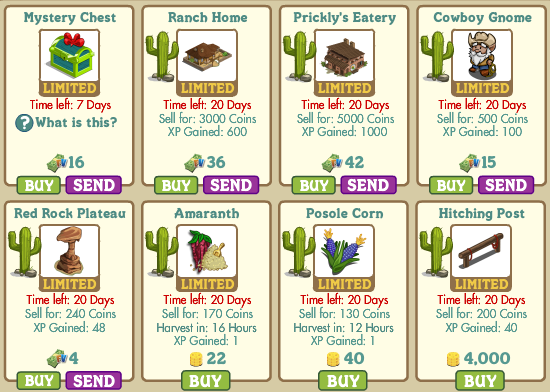 FarmVille southwestern items