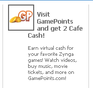 GamePoints.com Facebook ad on Cafe World