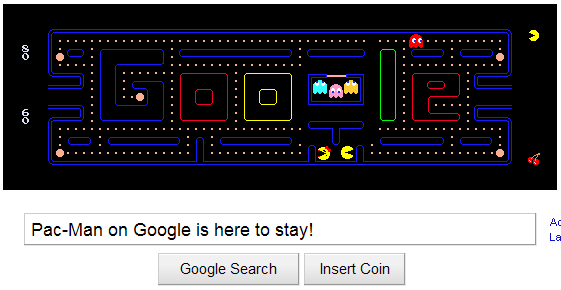 Pac-Man on Google is here to stay