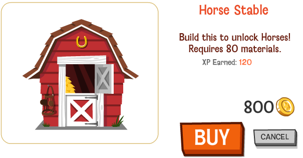 Happy Pets Horse Stable 800 Coins