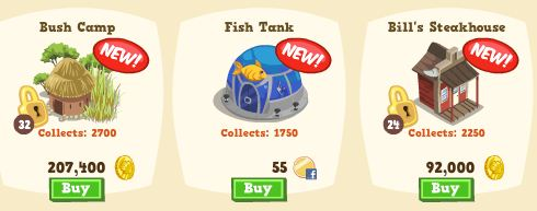 Happy Island New Items, Bush Camp, Fish Tank, and Bill's Steakhouse