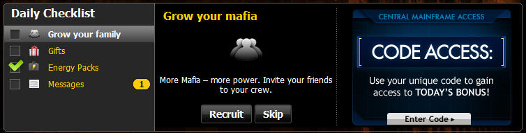 mafia wars code access