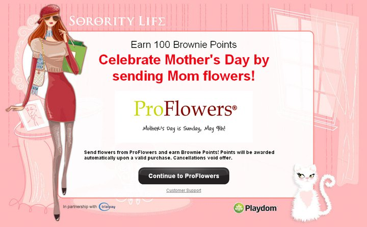 Sorority Life brownie points mother's day proflowers