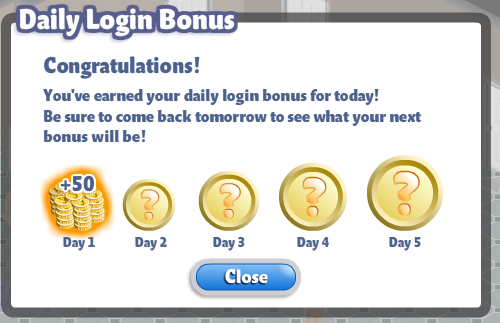 yoville daily login bonus