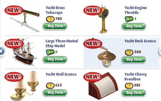 YoVille Yacht Furniture and Accessories