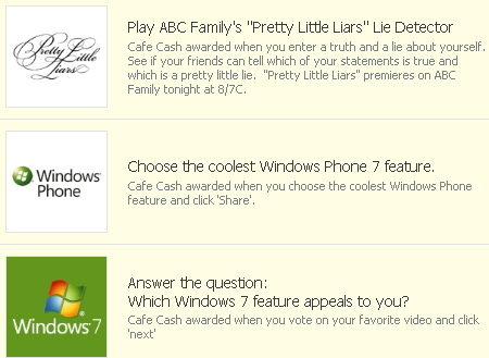 Cafe World Pretty Little Liars, Windows Phone, and Windows 7