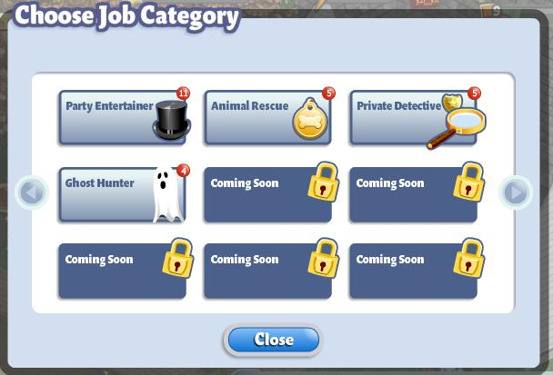 YoVille Choose Job Category