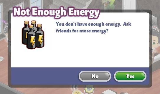 YoVille Not Enough Energy