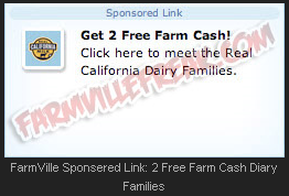FarmVille Sponsered Link: 2 Free Farm Cash Diary Families