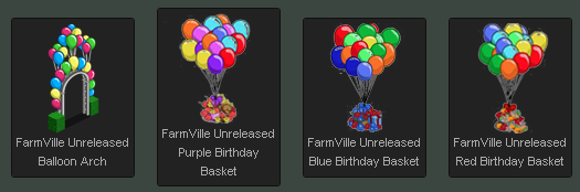 FarmVille Balloon Arch and Birthday Baskets