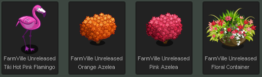FarmVille Tiki Hot Pink Flamingo, Orange Azelea, Pink Azelea, & Floral Container