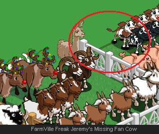 FarmVille Freak Jeremy's Missing Fan Cow
