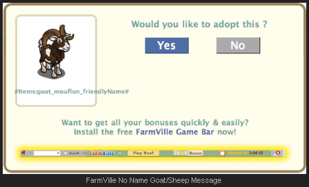 FarmVille No Name Goat/Sheep Message