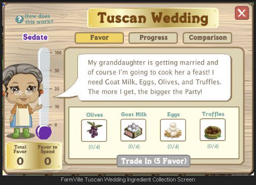 FarmVille Tuscan Wedding Ingredient Collection Screen