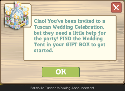 FarmVille Tuscan Wedding Announcement