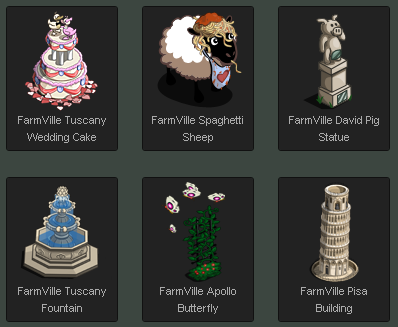 FarmVille Tuscan Wedding Prizes