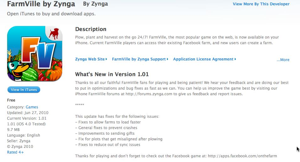 farmville iphone update