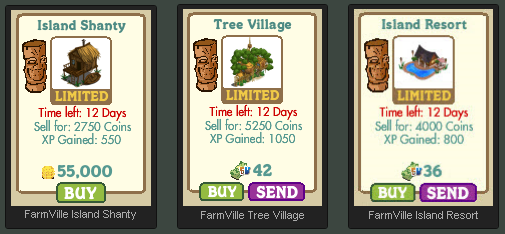 FarmVille Island Shanty, Tree Villange, and Island Resort