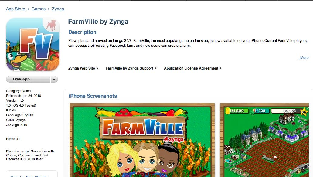 farmville in the app store -- we can't believe our freakin eyes