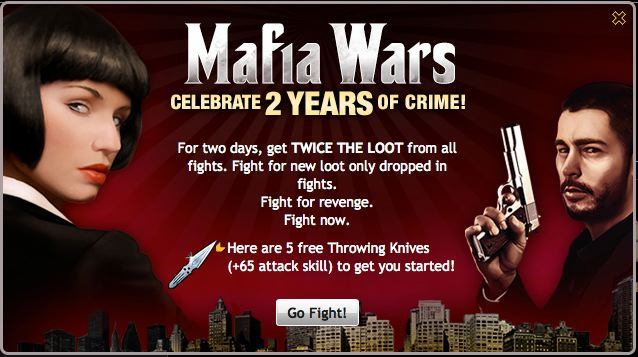 mafia wars celebrates two years