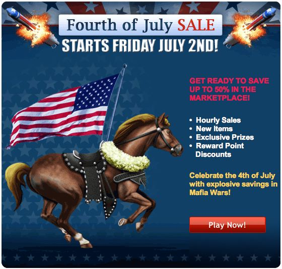 mafia wars fourth of july sale