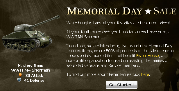 Mafia Wars Memorial Day WWII M4 Sherman Tank