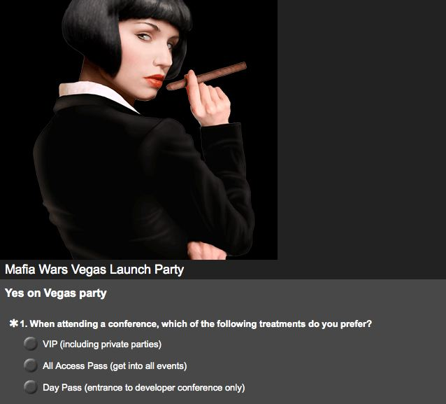 mafia wars las vegas launch party survey yes