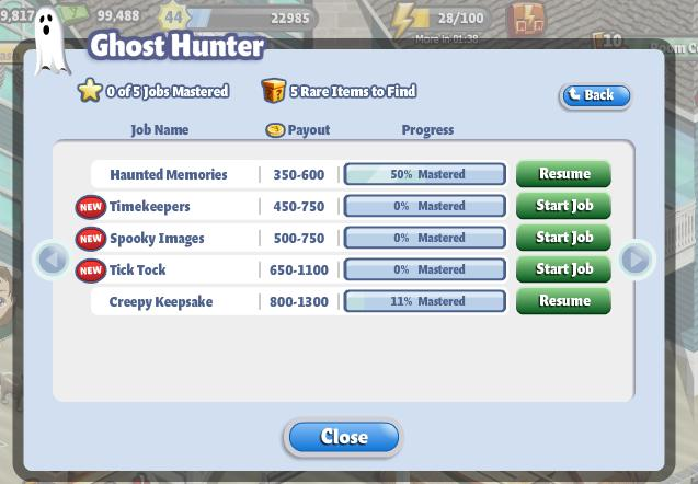 YoVille Ghost Hunter payout range