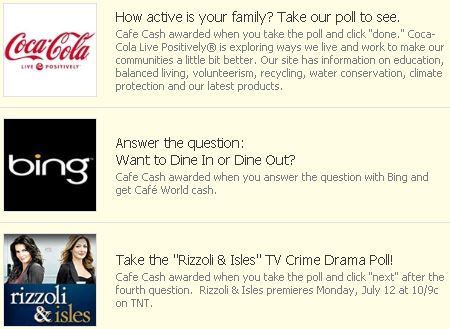 Cafe World free Cafe Cash promos: Coca-Cola, Bing, and Rizzoli & Isles