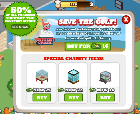 Cafe World Save the Gulf Charity Items