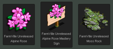 FarmVille Alpine Rose, Mastery Sign, Moss Rock