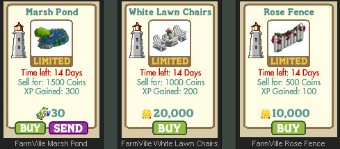 FarmVille New England Limted Edition Decorations