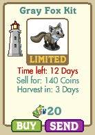farmville gray fox kit