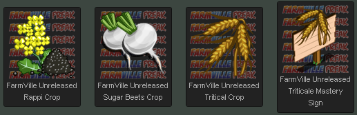 FarmVille Unreleased Rappi Crop, Sugar Beets Crop, Triticale Crop, & Triticale Mastery Sign