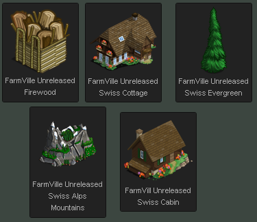 FarmVille Unreleased Swiss Cabin, Swiss Cottage, Swiss Evergreen, Firewood, & Swiss Alps Mountains