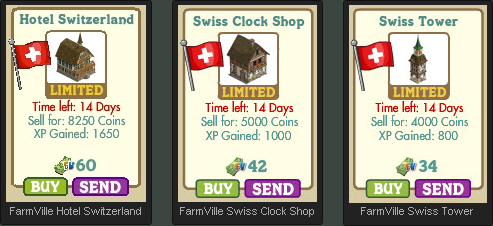 FarmVille Hotel Switzerland, Swiss Clock Shop, and Swiss Tower