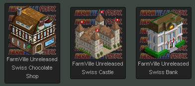 FarmVille Swiss Chocolate Shop, Swiss Bank, Swiss Castle