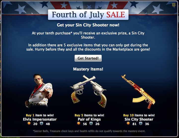 mafia wars fourth of july sale incentives